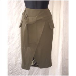 NEW Nasty Gal Olive Green Tie Front Skirt, Size M